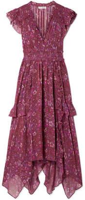 Ulla Johnson Ressie Ruffled Shirred Floral-print Silk-georgette Midi Dress