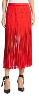 Monse Spaghetti-Fringe Silk Skirt