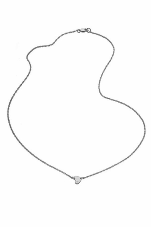 Jennifer Zeuner Jewelry Mia Mini Horizontal Heart Necklace with Diamond in Silver