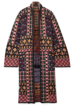 Etro Metallic Jacquard-knit Cardigan - Black