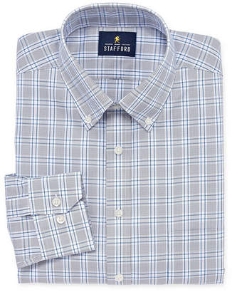 STAFFORD Stafford Executive Non-Iron Cotton Pinpoint Oxford Big And Tall Long Sleeve Grid Dress Shirt