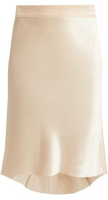 Raey Bias Godet Silk Satin Slip Skirt - Womens - Nude