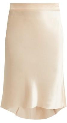 Raey Bias Godet Silk Satin Slip Skirt - Womens - Nude