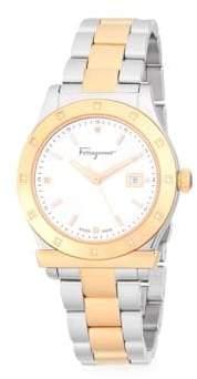Salvatore Ferragamo Diamond and Stainless Steel Two-Tone Bracelet Watch