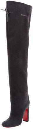 Christian Louboutin Alta Gant Suede Red Sole Knee Boot, Gray