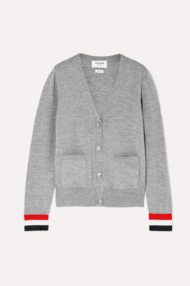 Thom Browne Striped Grosgrain-trimmed Wool Cardigan - Gray