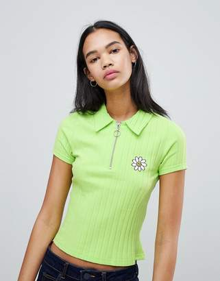 Lazy Oaf Ribbed Polo Shirt With Flower