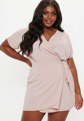Missguided Plus Size Pink Kimono Sleeve Wrap Front Dress
