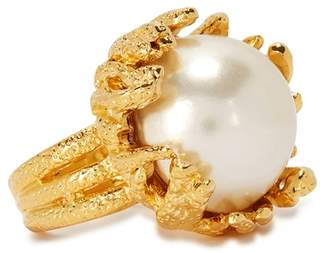 Kenneth Jay Lane Gold Tone Oversized Faux Pearl Ring