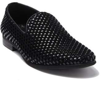 Karl Lagerfeld Paris Velvet Leather Basket Weave Loafer