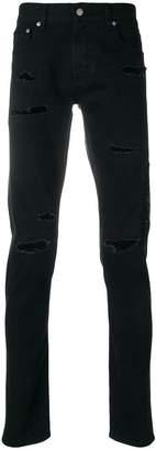 Alexander McQueen topstitched distressed jeans