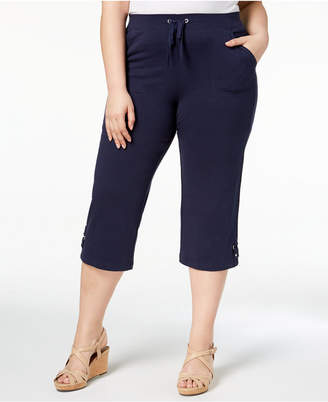 Karen Scott Plus Size Cropped Drawstring Pants, Created for Macy's