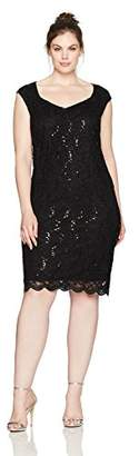 Tiana B Women's Plus Size Sequence Lace Sheath With Sweetheart Neckline