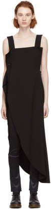 Y's Ys Black U-Asymmetric Wrap Dress