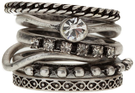 Stacked Rhinestone Rings - Set of 6