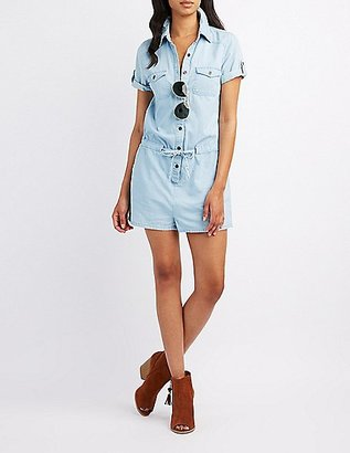 Chambray Button-Up Romper $24.99 thestylecure.com