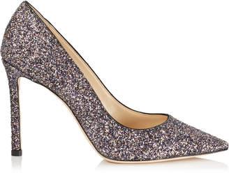 Jimmy Choo ROMY 100 Twilight Glitzy Glitter Fabric Pointy Toe Pumps