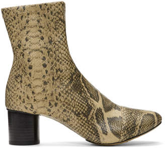 Isabel Marant Tan and Black Snakeskin Stretch Boots