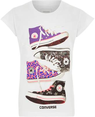 Converse River Island Girls White sneakers print T-shirt