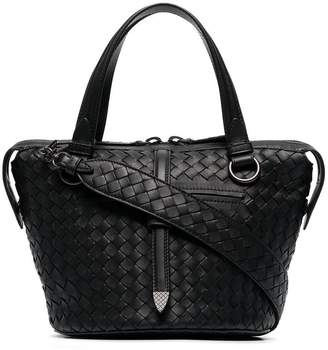 Bottega Veneta Black Tambura Woven Leather Shoulder Bag