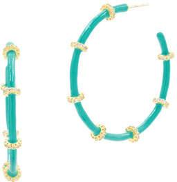Freida Rothman Harmony Turquoise Enamel Hoop Earrings