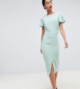 12c7f7ff86310 Asos Tall DESIGN Tall midi wiggle dress with fluted sleeve