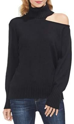 Vince Camuto Asymmetrical Shoulder Cutout Turtleneck Cotton Blend Sweater