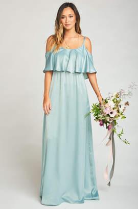 Show Me Your Mumu Caitlin Ruffle Maxi Dress ~ Silver Sage Sheen