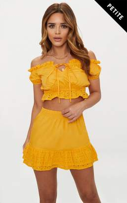 PrettyLittleThing Petite Mustard Broderie Anglaise Detail Mini Skirt