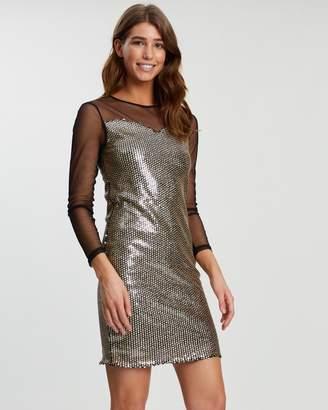 Dorothy Perkins Glitter Sequin Mesh Long Sleeve Bodycon Dress