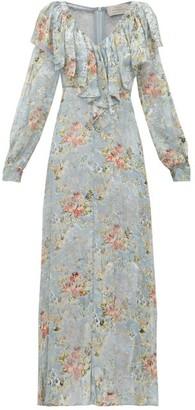 Preen by Thornton Bregazzi Iris Floral Devore Velvet Dress - Womens - Light Blue