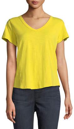Eileen Fisher Short-Sleeve Organic Cotton V-Neck Shirttail Tee, Petite