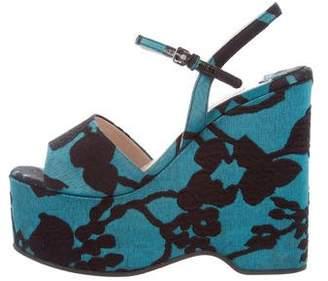 Miu Miu Ankle Strap Wedge Sandals