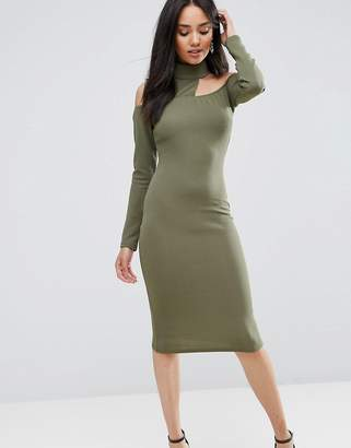 AX Paris Khaki Midi Bodycon Dress
