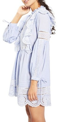 Women's Topshop Ruffle Cutwork Stripe Dress $90 thestylecure.com