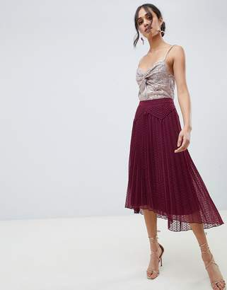 Asos Design DESIGN dobby pleated high low midi skirt with pintuck detail