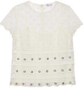 RED Valentino Eyelet-Embellished Embroidered Silk-Organza Top