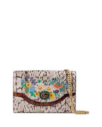 Gucci Ricamo Fiori Floral Snakeskin Wallet on a Chain