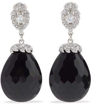 Kenneth Jay Lane Silver-Tone Crystal And Bead Clip Earrings