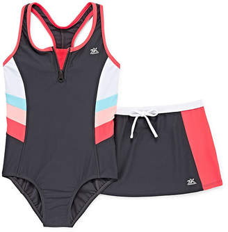 ZeroXposur Stripe One Piece Swimsuit with Skirt Big Kid Girls