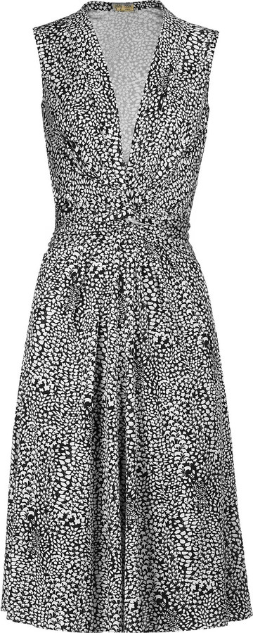 Issa Leaf print sleeveless dress
