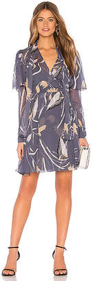Diane von Furstenberg Flutter Sleeve Neck Tie Dress