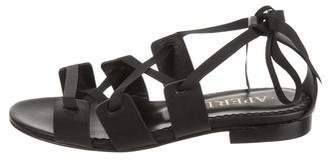 Aperlaï Leather Lace-Up Sandals