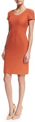 Armani Collezioni Short-Sleeve Seamed Sheath Dress, Burnt Sienna $695 thestylecure.com