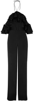 Emilio Pucci Cold-Shoulder Embellished Ruffled Satin Jumpsuit