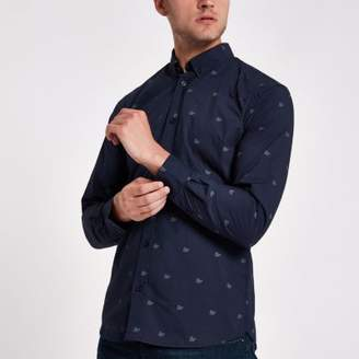 River Island Minimum navy print shirt