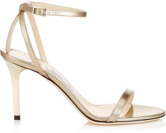 Jimmy Choo MINNY 85 Gold Liquid Mirror Leather Sandals