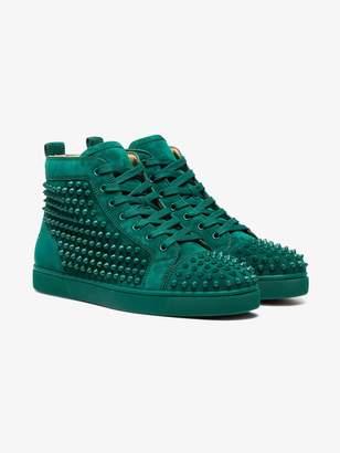 Christian Louboutin Green Louis spike suede sneakers