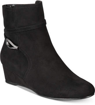 Impo Glammed Wedge Zip Booties Women Shoes