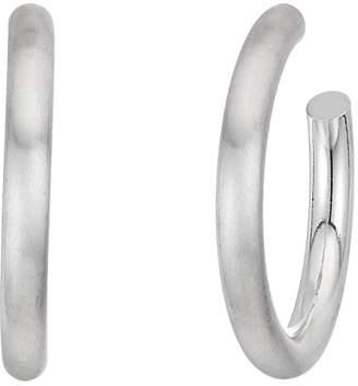 Kenneth Jay Lane Satin Silver Tube Hoop Pierced Earrings
